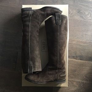Madewell 1937 ash grey pull on suede flat boots 7
